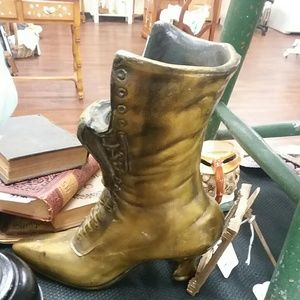 Antique Victorian Spelter Boot Statue